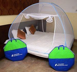 क्लासिक मच्छर नेट फोल्डेबल किंग साइज (डबल बेड) सेवियर्स के साथ - नीला
