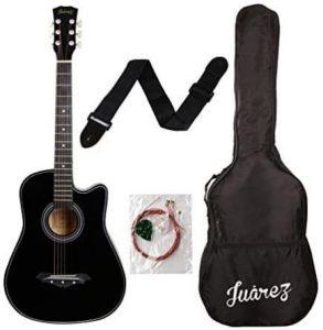 जुआरेज ध्वनिक गिटार, 38 इंच का कटअवे, 038C बैग, स्ट्रिंग्स, पिक एंड स्ट्रैप, ब्लैक के साथ